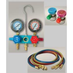 Zestaw z manometrami do kontroli szczelności układu klimatyzacji