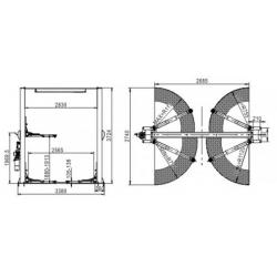 Podnośnik Dwukolumnowy Samochodowy 4 Tony, Łączony Górą, Półautomat PDŁG4000MS
