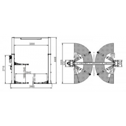 Podnośnik Dwukolumnowy Samochodowy 6 Ton, Łączony Górą, Automat PDŁG6000